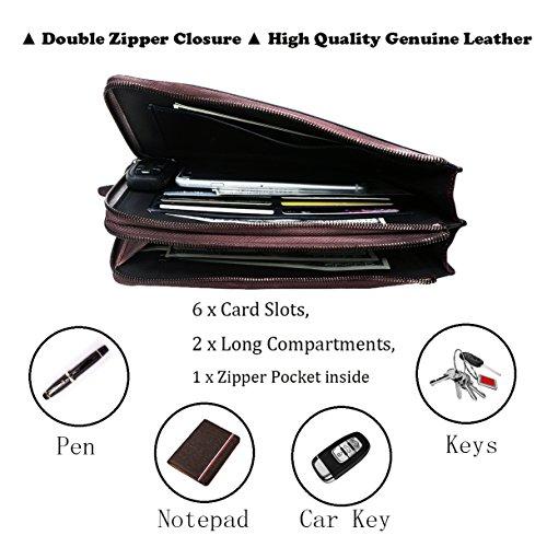 LETEULO Herren Wristlets Tasche aus echtem Leder Geldbörsen Clutch Geldbörsen Handtasche (Braun) Kaffee