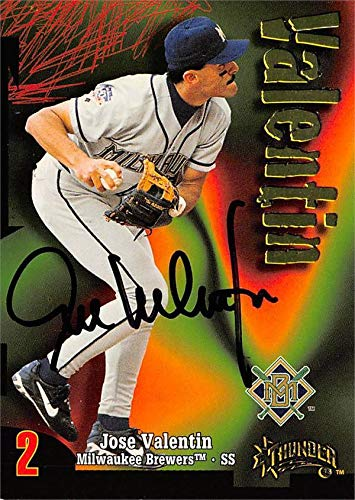 Valentin Baseball Cards - Jose Valentin autographed baseball card (Milwaukee Brewers) 1998 Skybox Thunder #253 - MLB Autographed Baseball Cards