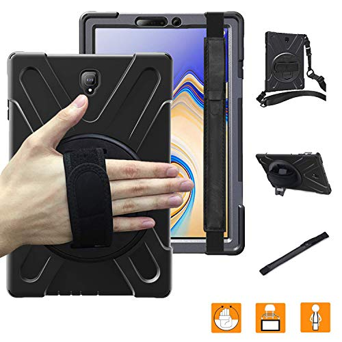 Galaxy Tab S4 Case with Pen Holder,Heavy Duty Shockproof Rugged Protective Case with 360 Degree Rotation Stand/Hand Strap & Shoulder Grip for Samsung Galaxy Tab S4 10.5'' 2018 SM-T830 T835 T837 Black (Bumper For Galaxy Tab S)