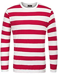 Men's Basic Striped T-Shirt Long Sleeve Crew Neck Cotton Shirt