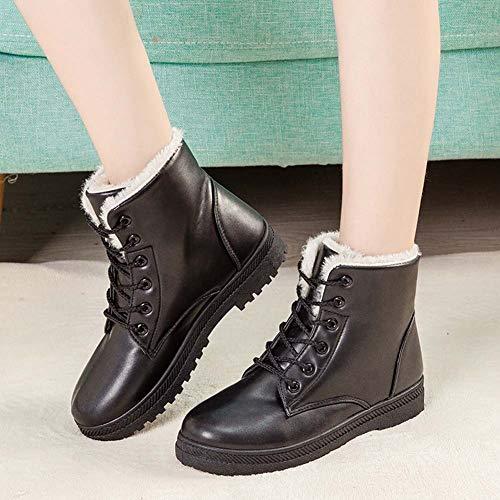 Stivaletti Piatto Stringate Scarpe Boots Pelliccia Allineato Bianca Invernale Sneaker 43 35 Marrone Caloroso Caviglia da Donna Pelle Stivali Neve Sportive Nero Nero rwq7r