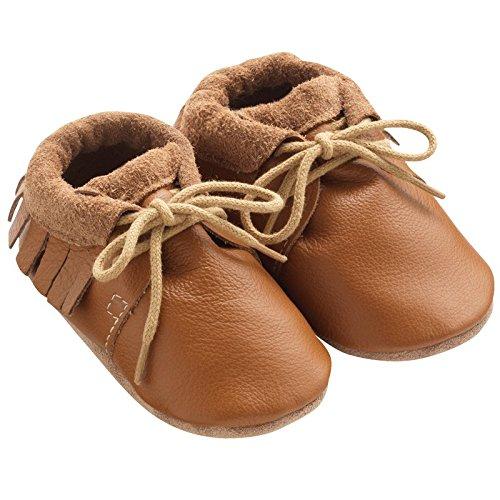 814195728f568 Tichoups chaussures bébé cuir souple tilou camel à franges ...