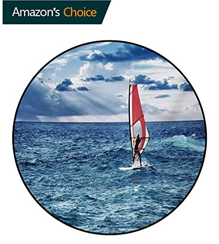 (RUGSMAT Ride The Wave Computer Chair Floor Mat,Windsurfer in The Sea Exotic Adventure Happy Summer Beach Challenge Picture Printed Round Carpet for Children Bedroom Play Tent,Diameter-24 Inch)