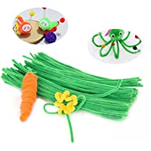100 Pieces Pipe Cleaners Chenille Stem for Arts and Crafts (Green)