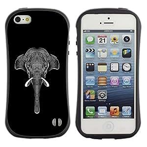 "Hypernova Slim Fit Dual Barniz Protector Caso Case Funda Para Apple iPhone SE / iPhone 5 / iPhone 5S [Negro White Elephant Art Tinta""]"