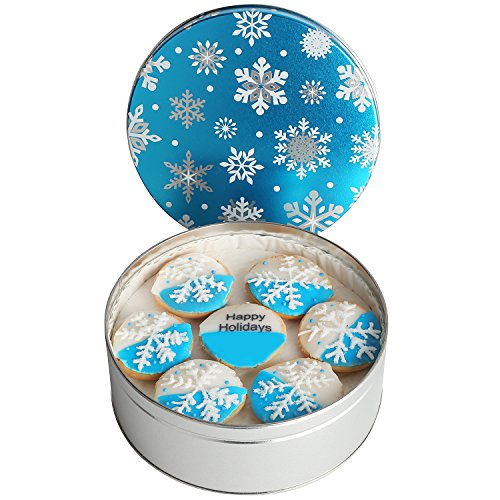 Happy Holiday New Year Designed Gift Basket Tin filled with 21 crystal Snowflake Blue & Whites, individually hand decorated soft cookies Great Holiday Gift by Custom Cookies.