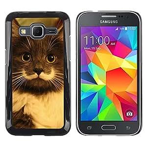 Be Good Phone Accessory // Dura Cáscara cubierta Protectora Caso Carcasa Funda de Protección para Samsung Galaxy Core Prime SM-G360 // Hamilton Hipster Cat Moustache Longhair