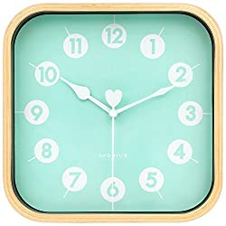 HIPPIH 9 inch Silent Square Wall Clock Wood Non Ticking Digital Quiet Sweep Decorative Vintage Wooden Clocks for Office/Kitchen/Bedroom/Living Room