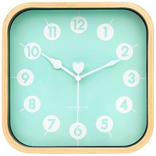- HIPPIH 9 inch Silent Square Wall Clock Wood Non Ticking Digital Quiet Sweep Decorative Vintage Wooden Clocks for Office/Kitchen/Bedroom/Living Room