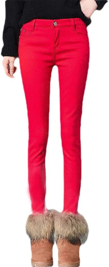 Romancly Womens Fall Winter Warm Mid Waist Slim Thickened Fleece Denim Pants