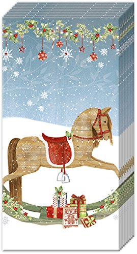 2 packs of Paper Pocket handbag Tissues Hankies - LOVELY ROCKING HORSE - Stocking filler Christmas IHR