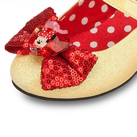 Disney Store Classic Minnie Mouse Toddler Girls Yellow Red Sparkling Shoes 7 / 8 Center Bow