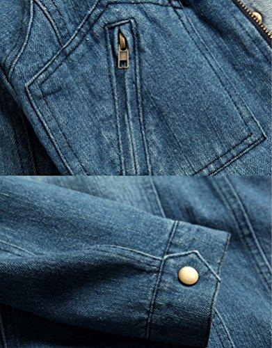 Uomo Giacca Jeans Vintage Da Slim Casual In Zhiyuanan Giubbino Con Blu Denim Cappotti Sportiva Cappuccio Fit Moda FnRx1wq