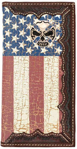 - Custom Skull and Crossbones American Flag Long Wallet with Distressed United States Flag