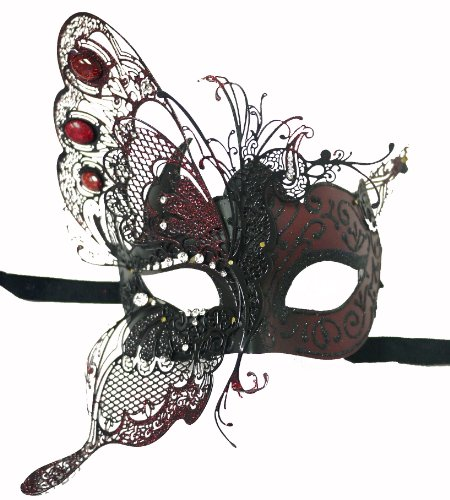 H-M SHOP Venetian Red Mask w/Gold Metal Butterfly Wing Laser-Cut and Crystals on Eyes -