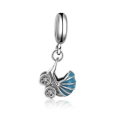 Abalorio de plata de ley 925, con diseño de carrito de bebé, compatible con pulseras y collares Pandora y tipo Pandora europeos: Amazon.es: Joyería