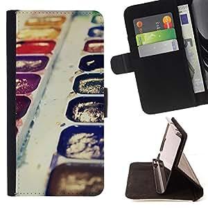 - PURPLE KIT WATERCOLORS DRAWING PAINTING ART - - Prima caja de la PU billetera de cuero con ranuras para tarjetas, efectivo desmontable correa para l Funny HouseFOR Samsung Galaxy Note 4 IV