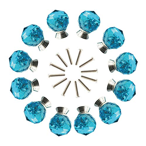 ANJUU 12 Pcs 30mm Round Shape Crystal Glass Cabinet Knobs with Screws Drawer Knob Pull Handle Used for Kitchen, Dresser, Door, Cupboard (Azure) (Beach Glass Knobs)