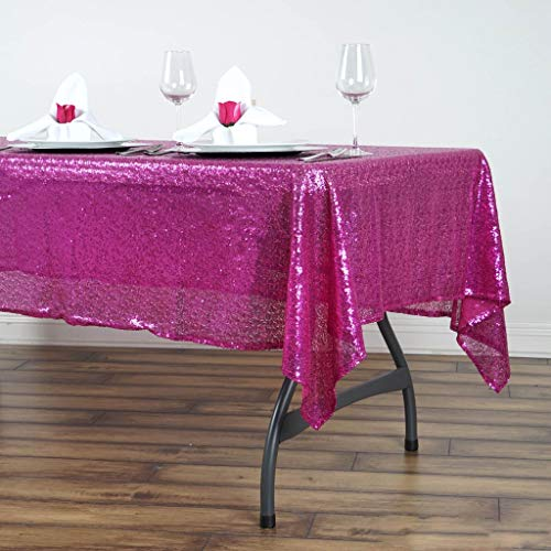 BalsaCircle 60x102-Inch Fuchsia Rectangle Tablecloth for Wedding Party Cake Dessert Events Table Linens]()