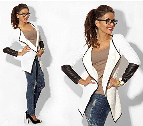 ZEARO Damen Strickjacke Strickwaren Kunstleder Splicing Cardigan Lange Mantel Oberbekleidung Weiß bjNco