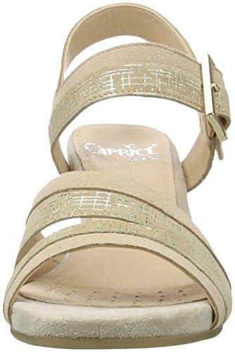 Caprice 28208, Sandalias con Cuña para Mujer Beige (Beige Comb)