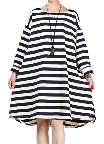 Blue Women s Daily Women Daily Stripes Mordenmiss Loose Pullover Loose s Pullover Dresses Mordenmiss Stripes xfwng60