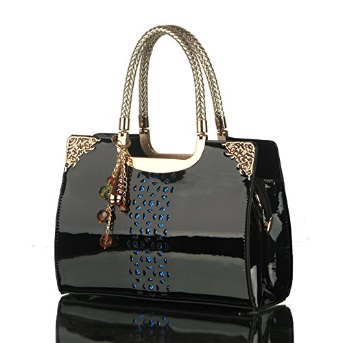 Style Tote Patent Purse Handbags NVRENLIAN PU out Top Bags Handle Lady Women Leather Leather Black Hollow 5xvOOIqfwg