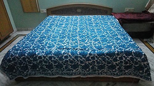 Christmas gift Blue embroidered king size bedspread with matching pillow cases by Pamposh