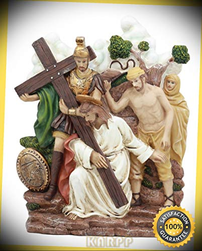KARPP Stations of The Cross Statue Wall Decor 3rd Station Jesus Falls A First Time Premium Decor Indoor Collectible Figurines ()
