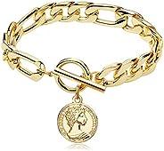 FAMARINE Charm Bracelets for Women 4MM, Gold Chain Cuban Link Mens Bracelet for Teen Girls Friendship Bracelet