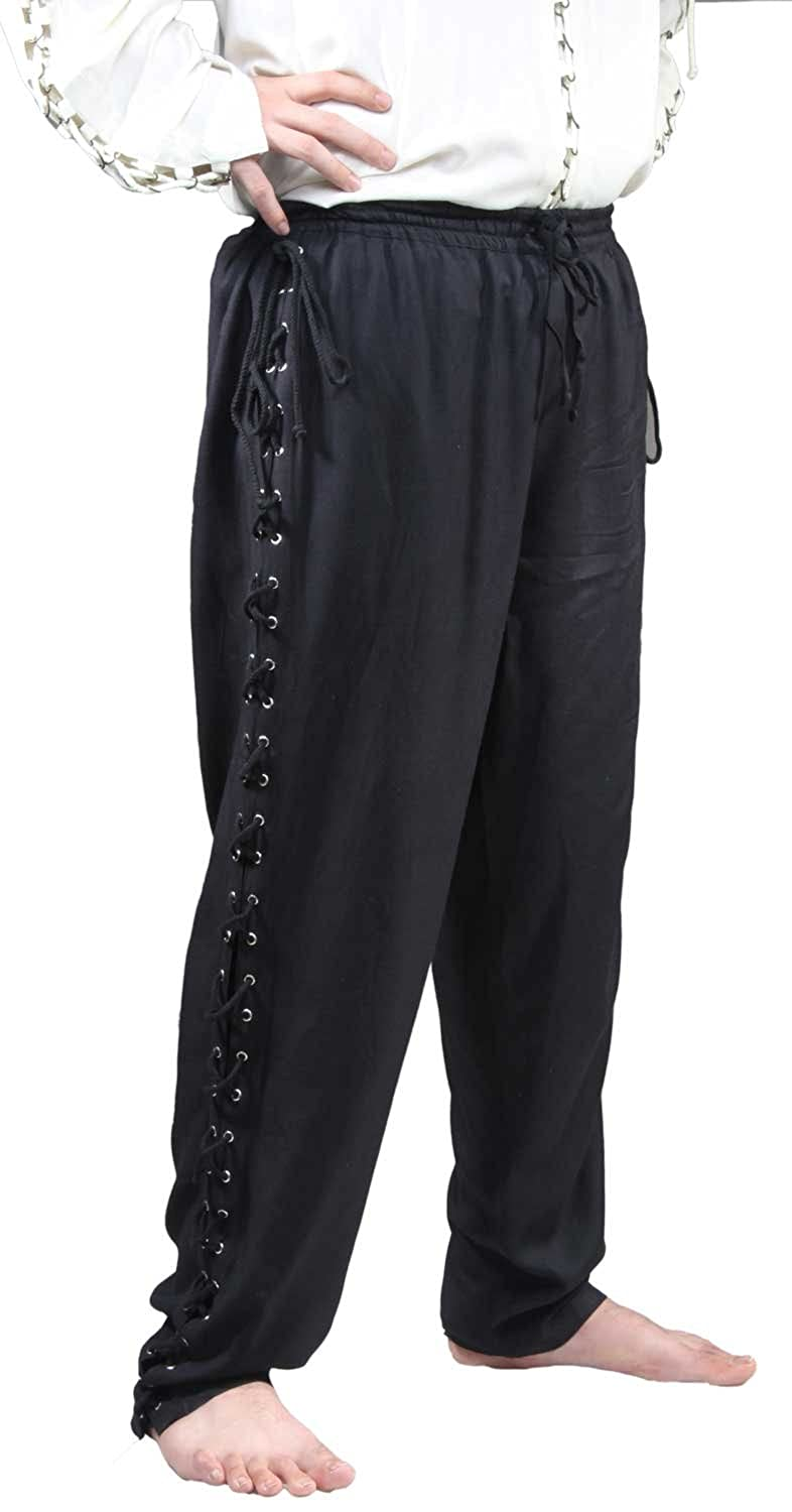 Deluxe Adult Costumes - Men's Medieval low rise black lace-up leg pirate pants