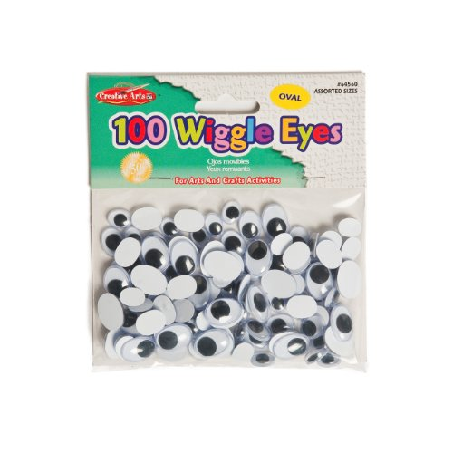 Charles Leonard Inc., Wiggle Eyes, Oval, Assorted Sizes/Black, 100/Bag (64560)