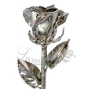 """Real Rose Dipped in Platinum - Venus Rose (12"""" Open Bud) 23"""