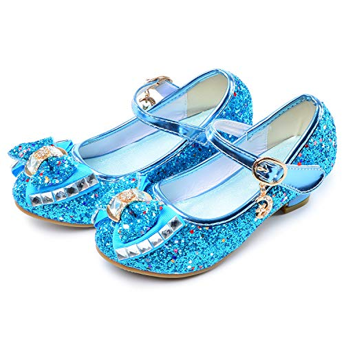 Birthday Party Little Girl's Adorable Sparkle Mary Jane Side Bow Strap Low Heels Princess Dress Shoes(Blue 13.5M Little Kid)