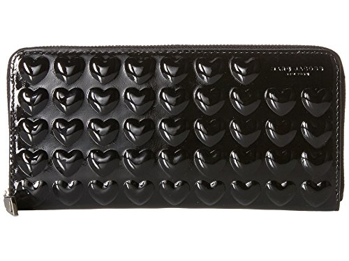 Marc Jacobs Embossed Hearts Continental Wallet, Black, One Size