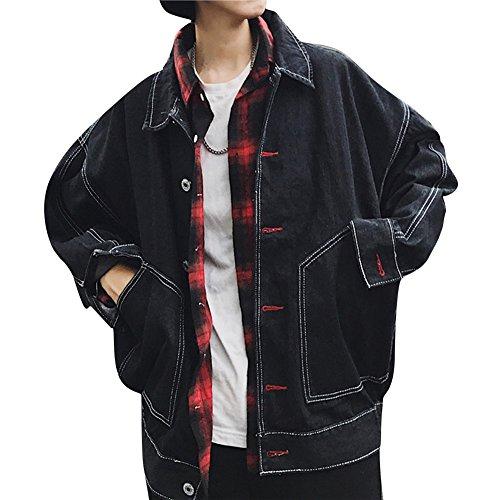 Uomo Nero Di Jeans Giacca Denim Giacche Outwears Sciolto Manica Jacket Cappotto Casuale Lunga 7x7qrYgw