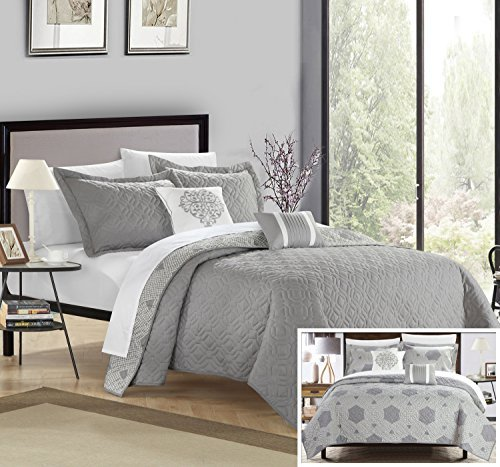 Chic Home 5 Piece Zoe Hexagon Quilted Embroidered With Contemporary REVERSIBLE printed backside King Quilt Set, Shams and decor pillow Grey (Zoe Comforter Set)