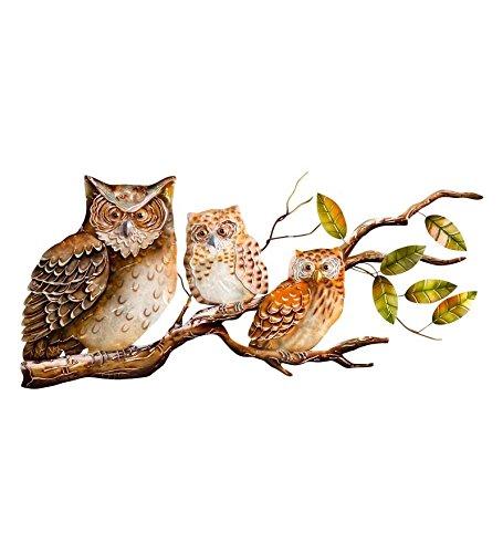 Metal Capiz Owls Wall Décor - owl metal outdoor yard decor