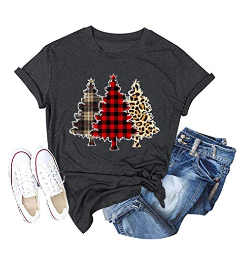 Women Christmas Tree T-Shirt Farm Fresh Letters Printed Xmas Holiday Tee Tops (Grey, S)