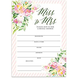 Bridal Shower Miss to Mrs Pretty Floral Fill in Blank Invitations with Envelopes (Pack of 25) Large 5x7 Flower Blossom Striped Border Maid Matron Honor Wedding Party Excellent Value Invites VI0087B