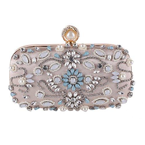 Beaded Apricot Diamond Clutch Apricot Color Handbag Purse KERVINFENDRIYUN Women's Bag Bag Evening xC7pHR