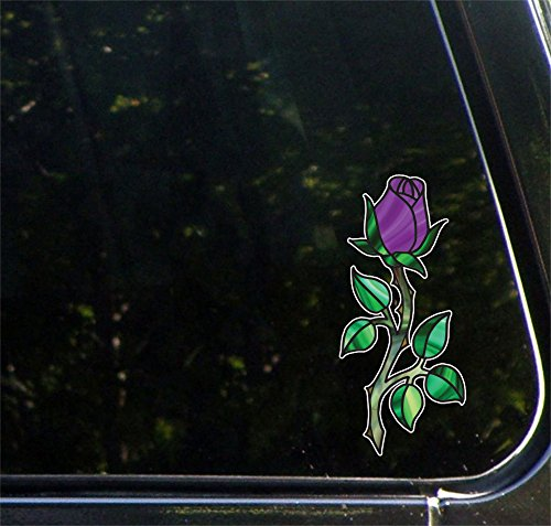 (Rosebud on long Stem w Thorns - Rose - Stained Glass Style Vinyl Decal for Car | Truck | Outdoor Use - Copyright © 2016 Yadda-Yadda Design Co. (3