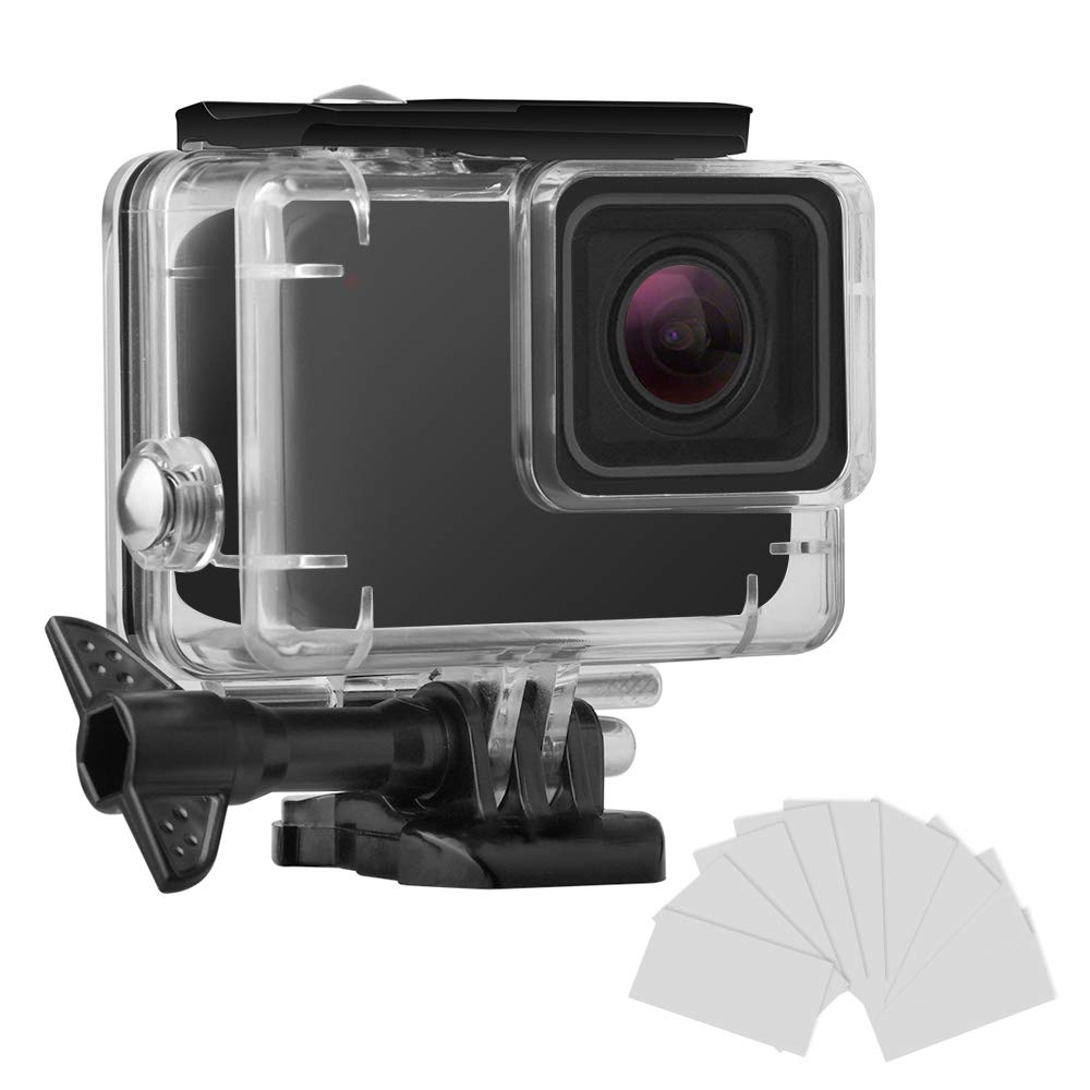 FINEST+ Waterproof Housing Shell for GoPro HERO7 White/Silver, Diving Protective Housing Case 45m with Anti Fog and Bracket Accessories for Go Pro Hero 7 Action Camera