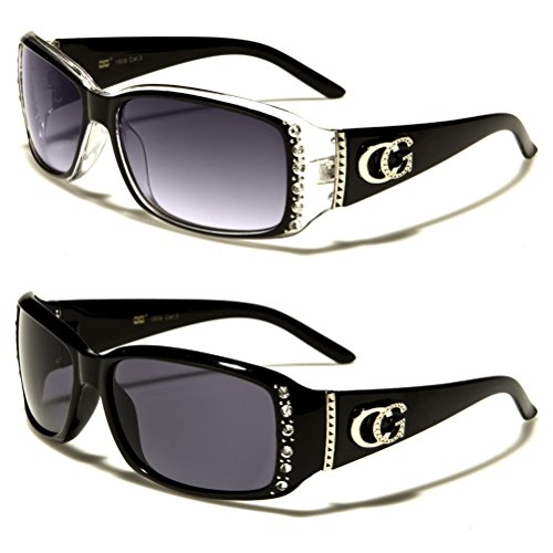 - CG Eyewear 2 Packs Womens Rhinestone Designer Fashion Sunglasses (Black & Black Clear)