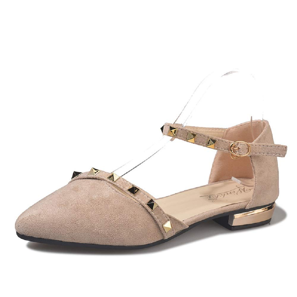 Color : Beige, Size : US 7 LingGT Buckle Strap Women Ballet Flats Faux Suede Comfort Shoes
