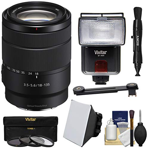 Sony Alpha E-Mount 18-135mm f/3.5-5.6 OSS Zoom Lens with 3 UV/CPL/ND8 Filters + Flash + Soft Box + Lens Pen + Kit
