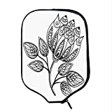 YOLIYANA Henna Durable Racket Cover,Hand Drawn Monochrome Floral Pattern with Ornamental Petals and Leaves Swirls Curves for Sandbeach,One Size