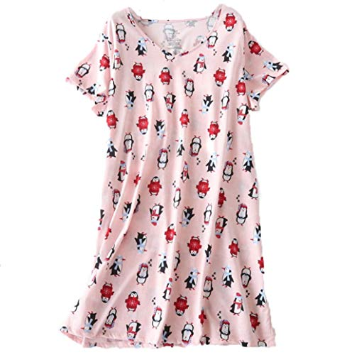 PNAEONG Amoy-Baby Women's Nightgowns Short Sleeves Cotton Sleepwear Print Sleep Shirt XTSY001-Pink Penguin-S