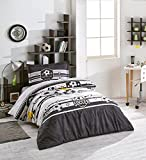 Forza V3 Black White Soccer Duvet Cover Set, 100% Cotton Ranforce, 3-Piece Single Size Bedding Set for Teens