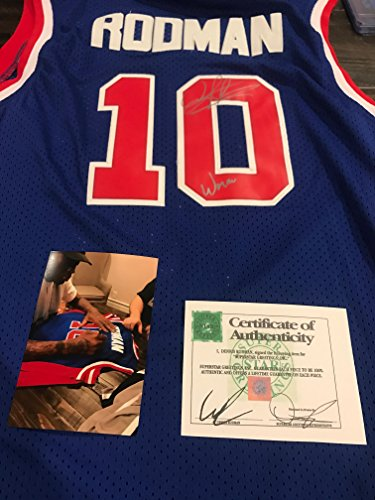 Autographed Dennis Rodman Detroit Pistons Jersey Inscribed Worm SSG certified from private signing